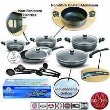 16PC BLACK NON-STICK COMPLETE COOKWARE PAN POT SET GLASS LID KITCHEN UTENSIL