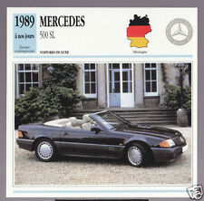 1989 1990 1991 Mercedes 500 SL Cabriolet (Benz) Car Photo Spec Sheet French Card