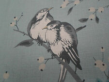 Chivasso Curtain Fabric  'Bird Garden' 2.6 METRES Blue/Grey ~ Linen Blend