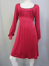 BCBG Max Azria Dress Size L Red Gathered Empire Cocktail Scoop Long Sleeve New