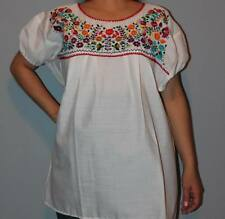 ELASTIC PEASANT PUEBLA HAND EMBROIDERED MEXICAN TUNIC BLOUSE TOP XS
