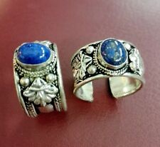 Retro Fashion Tibet Silver Carved Ring Adjustable Religion Lapis Lazuli Stone