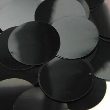 "Black Shiny Opaque Sequins Round 1.5"" Large Couture Paillettes"