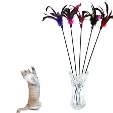 2X Pet Cat Kitten Frenzy Feather Teaser Rod Wand Flexible Fun Play Toy SWUK