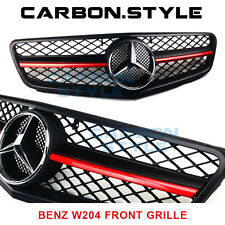 Matte Black Red Metallic For Mercedes Benz W204 C63 Look Front Grille 2008-13