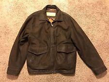 Mens Timberland Weathergear Brown Suede Leather Jacket Coat Zipper M Medium Rare