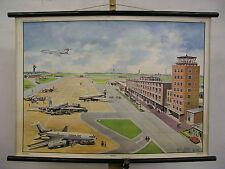 Schulwandkarte Wandkarte Wandbild Flugplatz Airport Geschenk Jubiläum 90x64 1967