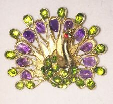 Scarce 60s SWOBODA Amethyst Peridot PEACOCK Brooch Pin EXCELLENT collector piece