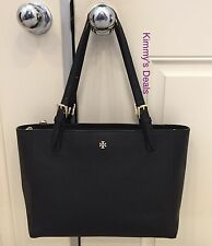 Tory Burch Small York Buckle Tote In Black Saffiano Leather MSRP $245 Authentic
