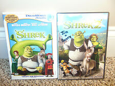 LOT (2) Shrek & Shrek 2 DVDs Movies Full Screen DreamWorks