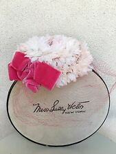 Vintage Sally Victor NY Pillbox Fastner Hat Pink Bow Flowers Netting Plus Box