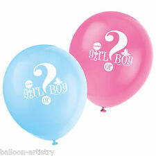 8 Boy Or Girl Baby Shower Gender Reveal Party Blue Pink Printed Latex Balloons