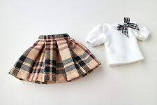 Neo Blythe, Licca Doll Outfits Clothes White T-Shirt and Check Tartan Mini Skirt