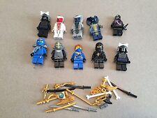LEGO NINJAGO MINIFIG LOT of 10 MINIFIGS 4 Ninjas Weapons Lot U361