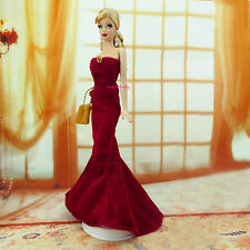 Fishtail Strapless Maroon Formal Dress Wedding Gown Bag Clothes For Barbie Doll