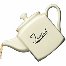 Large 1700ml Big Square Cream Coronet Ceramic Vintage 1.7 Litre Kitchen Teapot