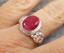 925 Silver Cut RUBY Ring Sz M-6 R597~Silverwave*uk Jewellery
