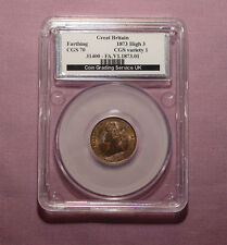1873 QUEEN VICTORIA BRONZE FARTHING - Graded aUNC By CGS