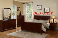 Contemporary Bedroom 1pc Cal King Bed Cherry Wood Finish Double Paneled Head Bed