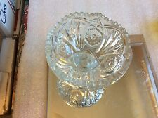 "Vintage 4"" Tall Clear Cut Depression Glass Pedestal Candy/Nut Dish"