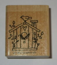 Birdhouse Rubber Stamp Bird Heart Stampin' Up! Chimney Retired Leaves Flowers