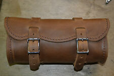 leather motorcycle front fork tool bag harley davidson indian brown 9""
