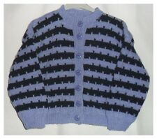 Hand Knitted Girls Cardigan Blue
