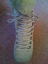 NEW Sz 4 Nine West Tan Sand Suede lace up Fur cuff Calf boots Warm