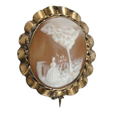 1890s Antique Victorian Shell Cameo Pin  Brooch Petite Tiny Rebecca at the Well