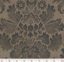 Braemore Bellefonte Acorn Bronze Black Floral Woven Damask Fabric BTY