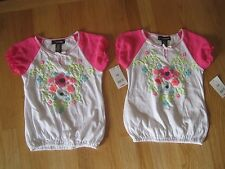 Twin girls NEON MULTICOLOR FLOWERS WHITE PHEASANT tops shirts NWT 6 6X