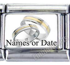 Wedding Rings Anniversary Custom Dates or Names 9mm Italian Photo Charm