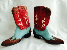 LUCCHESE RED TURQUOISE BROWN COWBOY COWGIRL LEATHER BOOTS SZ 7B 7