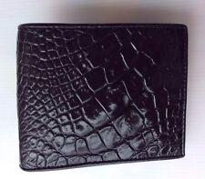 100% Genuine crocodile alligator skin leather bifold men black wallet