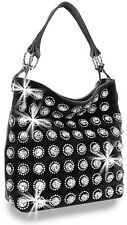 Rhinestone and Large Gem Accented Fashion Hobo Handbag Purse Bag Bling Black New