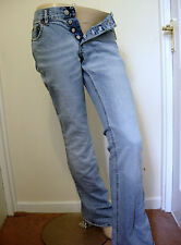 h&m divided bootcut flared wide blue jeans retro vintage faded boho button fly