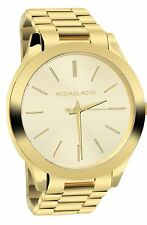 Michael Kors Ladies Glitz Gold Tone Slim Runway Mid-Size Designer Watch MK3179