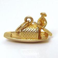 Vintage 14K Gold 3D Chinese Junk Boat Fishing Vessel Charm