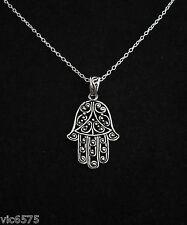 Sterling silver filigree FATIMA/HAMSA HAND pendant with necklace chain