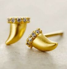 Anthropologie Horn Curve Delicate Gold Studs Earrings Retails $38.00