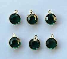 VINTAGE 6 EMERALD GREEN MACHINE CUT GLASS DANGLE DROP PENDANT BEADS 10mm