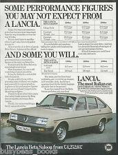 1979 LANCIA BETA advertisement, British advert, Lancia Beta Saloon