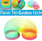 Colorful Rainbow Plastic Magic Slinky Ring Children Classic Spring Circle Toy