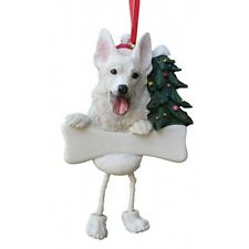 GERMAN SHEPHERD  WHITE ~ DANGLING DOG ORNAMENT #75W