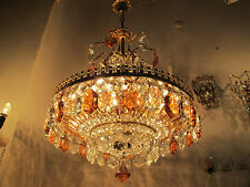 Antique French EXTRA LARGE Basket Style Crystal Chandelier Lamp 1940's 20in dmtr