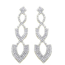 Rhinestones Bridal Diamante Shiny Long Drop Dangle Earrings for Weddings E569