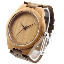 Retro Leather Bamboo Wooden Wrist Watch Japan Movement Quartz Watch Wristwatches