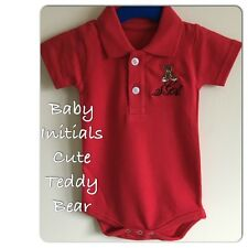 Personalized Baby Vest Polo,Onesie,Outfit Initials with Cute Teddy Bear Gift!