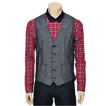 Chris Christy Mens Casual Pocket Detailed Denim Like Vest Bluish Black Size M