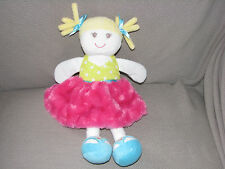 BABY STARTERS STUFFED PLUSH CLOTH BABY DOLL PINK SKIRT BLONDE PIGTAIL POLKA DOT